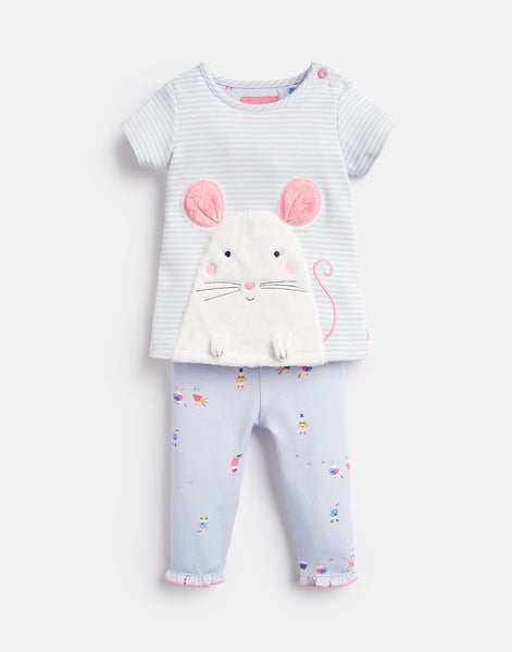 Joules Poppy Applique Top and Pants Set in Blue Mouse