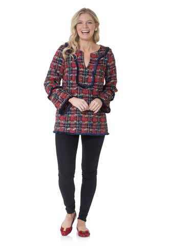 Sail to Sable Long Sleeve Fringe Tunic Top in Red Plaid