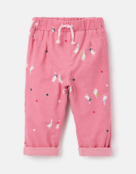 Joules Scarlet Cord Pant in Pink Geese