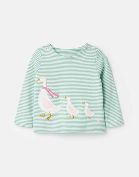 Joules Harriet Applique Top in Green Stripe w/Geese