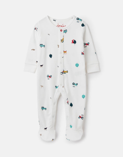 Joules Ziggy Printed Babygrow with Feet in White Farmyard