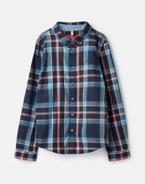Joules Lachlan Checked Button Down Shirt in Navy