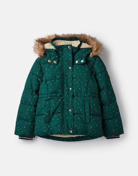Joules Stella Faux Fur Lined Padded Jacket in Ivy Green Stars