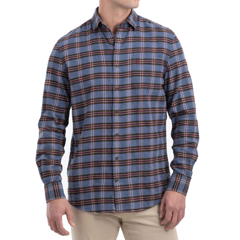 Johnnie-O Gene Flannel Button Down Shirt in Marlin