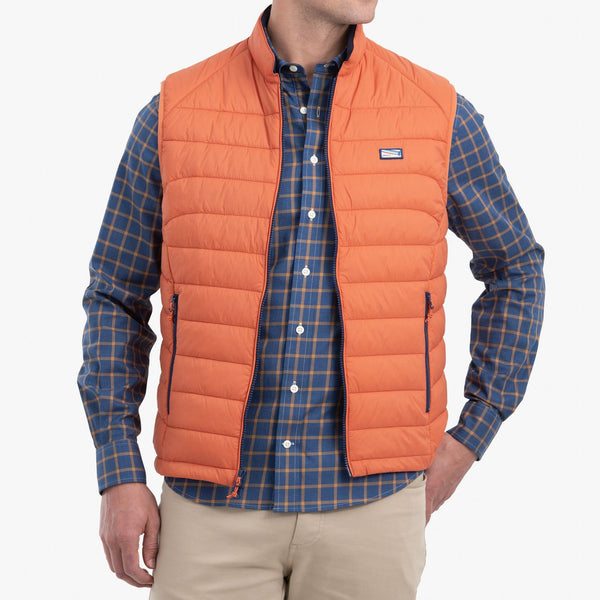 Johnnie-O Hudson Lightweight Quilted Vest in Rust