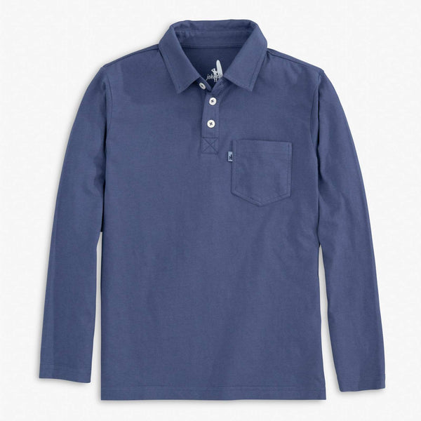 Johnnie-O Kip Jr. Long Sleeve Polo in Maritime