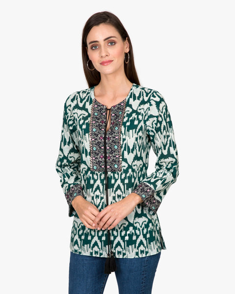 Bella Tu Ikat Tunic with Tie in Green
