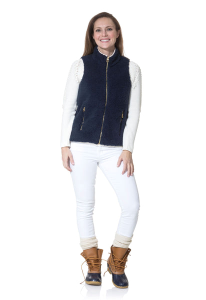 Sail to Sable Sherpa Vest in Navy