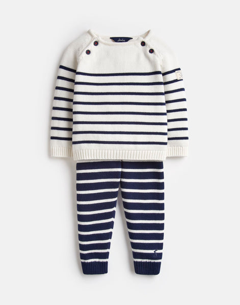 Joules George Knitted Top and Pant Set in Navy/Cream Stripe