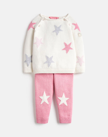 Joules Georgia Knitted Top and Pant set in Pink/Cream Stars