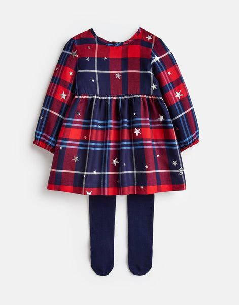 Joules Macy Woven Dress and Tight Set in Redcheck