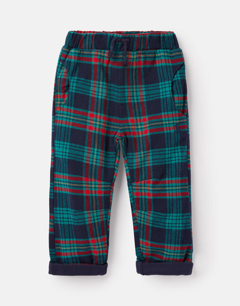 Joules Joe Brushed Woven Pant in Navy/Multi Check