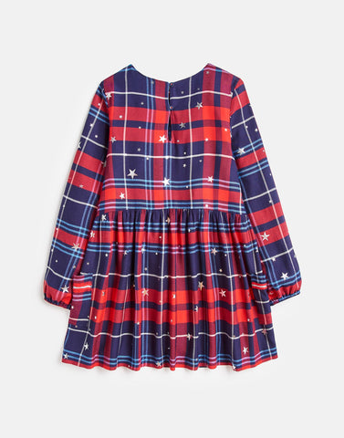 Joules Rowena Woven Dress in Red Check Star