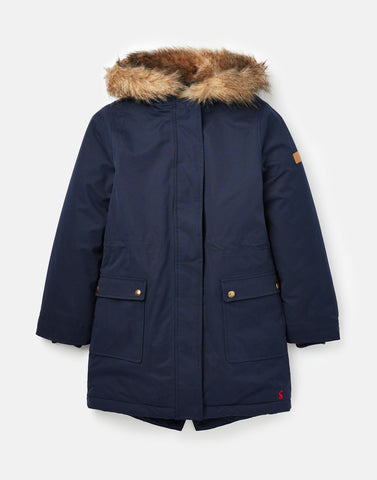 Joules Bonnie Fur Lined Parka in French Navy