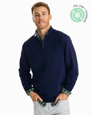 Southern Tide Pacific Highway Quarter Zip Sweater in True Navy