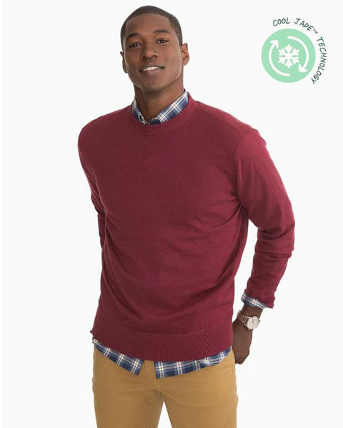Southern Tide Pacific Highway Crewneck Sweater in Black Cherry