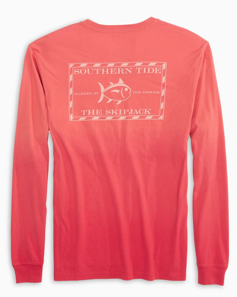 Southern Tide Mens Long Sleeve Original Skipjack Dip Dyed Tee