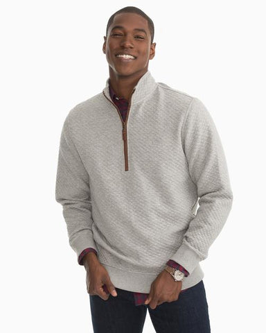 Southern Tide Sundown Quilted 1/4 Zip Pullover in Grey
