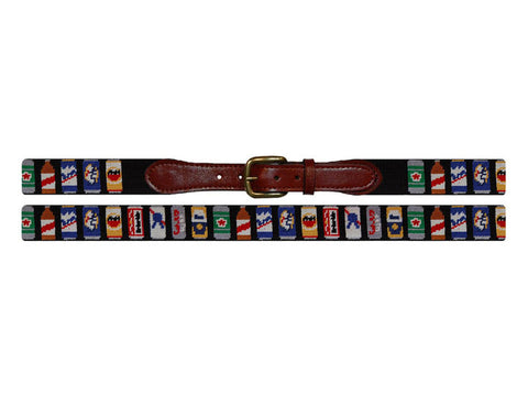 Smathers & Branson Beer Cans Needlepoint Belt in Black
