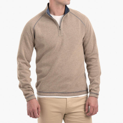 Johnnie-O Turner 1/4 Zip Pullover in Teak
