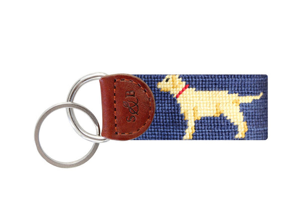 Smathers & Branson Yellow Lab Key Fob in Navy