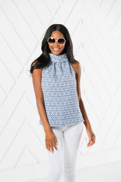 Sail to Sable Cowl Neck Top in Blue Metallic Tweed