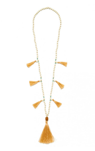 Aizea Tassel Necklace in Cream/Peach
