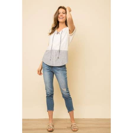 Mystree Lace-up Neck Striped Top