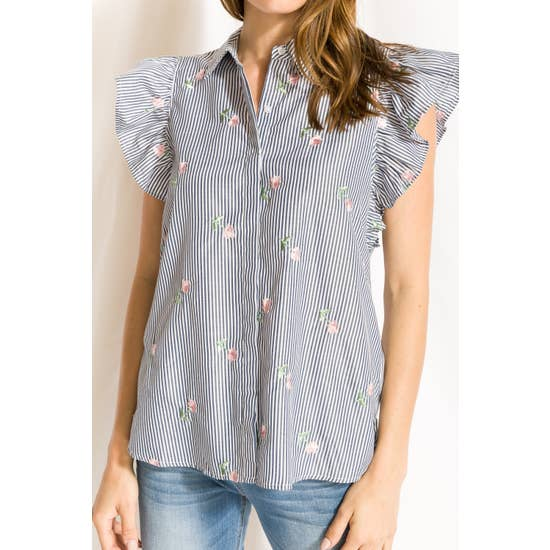 Mystree Ruffle Sleeves Embroidered Stripe Button Down Shirt