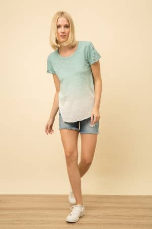 Mystree Embroidered Dip Dye Top