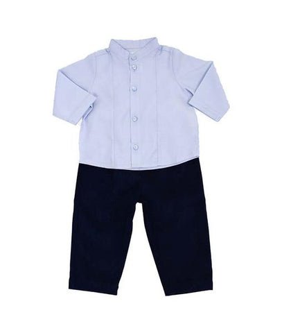 Cuclie Baby Pique Dress Shirt w/ Cord Pants in Navy