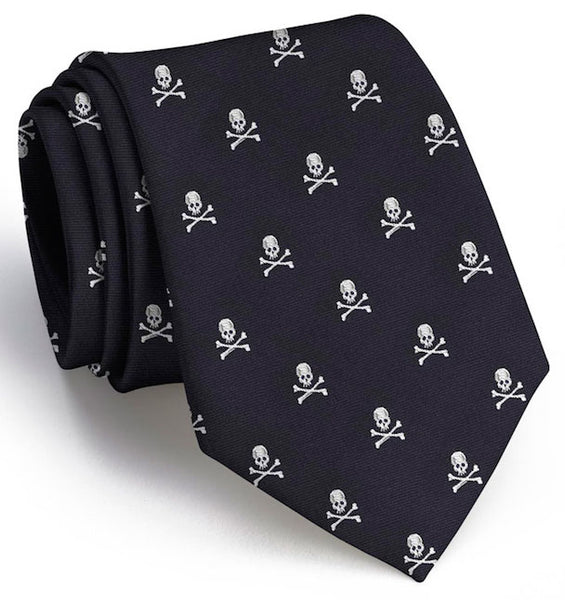 Bird Dog Bay Skull & Crossbones Club Necktie in Black