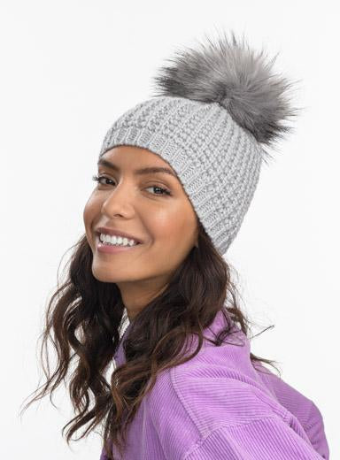 Kyi Kyi Classic Faux Fur Hat in Light Grey