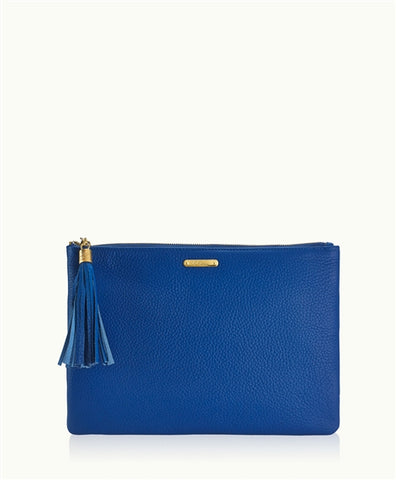 Uber Clutch w/ Slip Pocket in Cobalt Pebble Leather