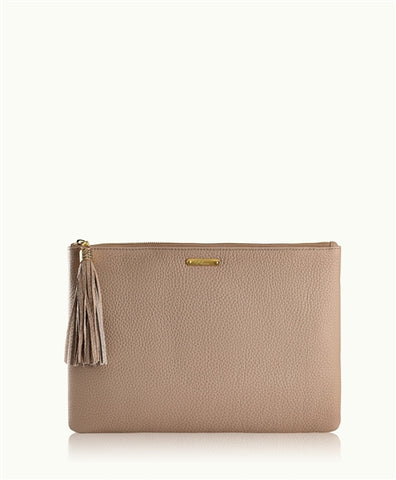 Uber Clutch w/ Slip Pocket in Stone Pebble Leather