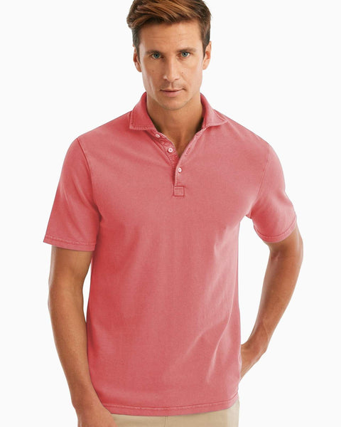 Johnnie-O Surfside Garment Dyed Pique Polo in Coral Reef