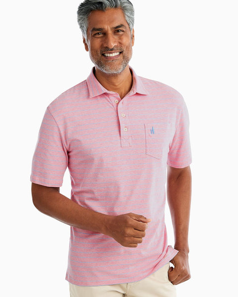 Johnnie-O The Original Four Button Polo - Neese Stripe in Flamingo