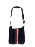 Ahdorned Navy Neoprene Messenger Bag w/Contrast stripe in White/Pink