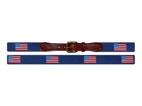 Smathers & Branson American Flag Needlepoint Belt in Navy