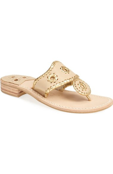 Jack Rogers Nantucket Gold Sandal in Baby Camel/Gold