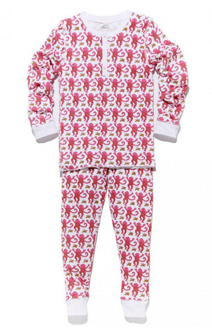 Roberta Roller Rabbit Kids Pajama Set in Pink Monkey