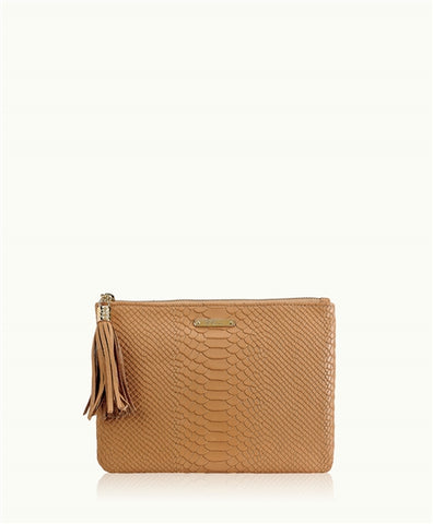 All in One Bag w/Slip Pocket in British Tan Embossed Python