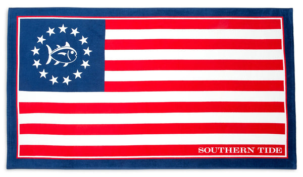 Southern Tide Grand Ole Flag Beach Towel in Red, White, & Blue