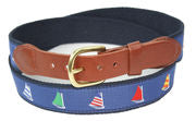 Leather Man Ltd Rainbow Fleet Motif Belt in Navy