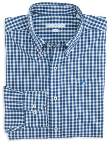 Southern Tide Gingham Sport Shirt in Yacht Blue
