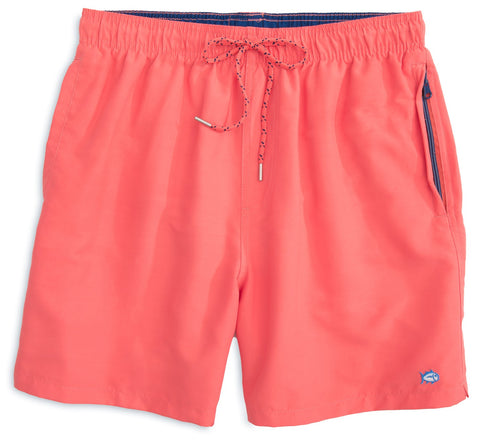Southern Tide Skipjack Swim Trunks in Sunset Coral