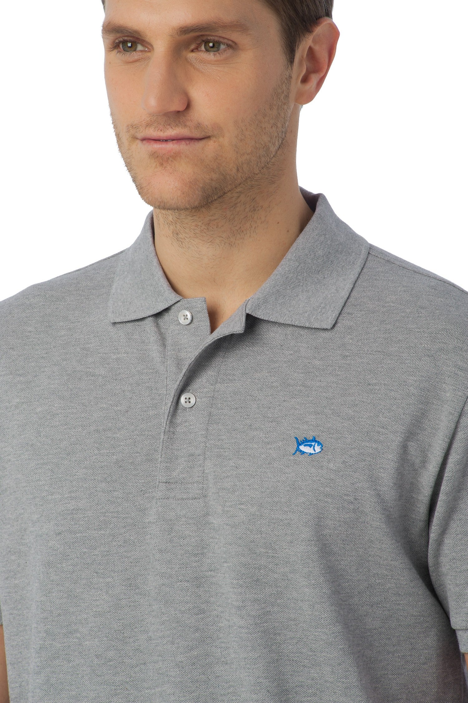 Southern Tide Heathered Skipjack Polo In Heather Grey