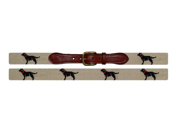 Smathers & Branson Black Lab Needlepoint Belt in Khaki