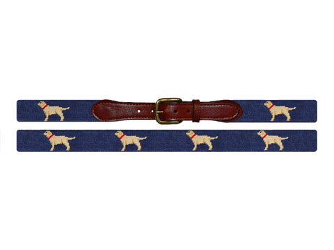 Smathers & Branson Yellow Lab Needlepoint Belt in Classic Navy