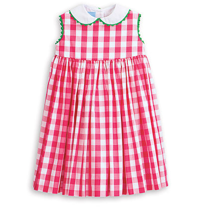 Bella Bliss Peter Pan Sundress in Hot Pink Check